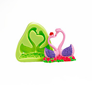 Lovers Swan Silicone Mold for Chocolate Polymer Clay Sugarcraft Tools Cake Decorations Mould Color Random