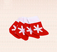 4pcs Christmas Silverware Decoration Snow Snowflake Sock Tableware Cutlery Holder Xmas Table Decor