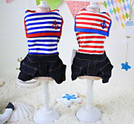 Dog Jeans Red / Blue Spring/Fall Stripe Striped / Casual/Daily, Dog Clothes / Dog Clothing