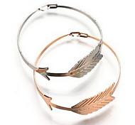 Alloy Leaf Natural Stone Gem Adjustable Cuff Bangle Bracelet