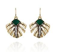 European Style Geometric Rhinestone Leaves Drop Earrings for Women Fashion Jewelry