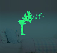 Sit Tinker Bell Fluorescent Luminous Switch Wall Stickers Glow In Dark Stars Home Decoration Fairy Glitter Wing  Decal