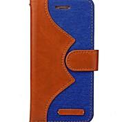 Corpo Completo carteira / Impermeável / com suporte / Auto Dormir/Despertar Côr Camuflagem Tecido Macio Denim Case Capa Para AppleiPhone