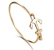 Alloy Anchor Natural Stone Gem Adjustable Cuff Bangle Bracelet