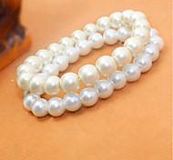 Women White Pearl Style Strand Bracelet