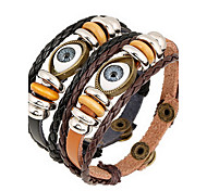 Leather Wrap Bracelet with Eye Shape