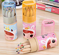 Korean Cartoon Bunny Girl Colored Pencils 12 Color Children'S Cartoon Color Cartridges With Lead Pencil Sharpener