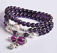 Fashionable Purple 74cm Round Strand Bracelets