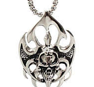 Retro Flame Skull Titanium Necklace Pendant