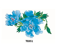 1pcs  Temporary Tattoo Sticker  Blue Flowers