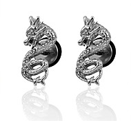 Chinese Dragon Screw Back Stud Earrings