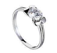 Sjeweler Ladies Platinum Plating White Zircon Bridal Ring Fashion Ring