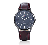 Unisex's Fashion Round Leather Casual Wristwatches Glass Analog Quartz Men Watch