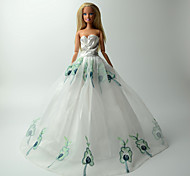 Barbie Doll White / Blue Party & Evening Organza / Lace Dresses Dresses