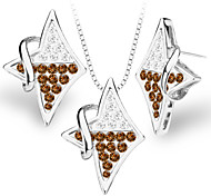 Luxury Romantic 18k Gold/Platinum Plated Quadrilateral Necklace&Earrings Women's Noble Temperament Series S20185