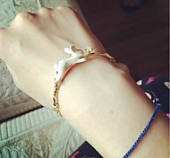 Cute Gold Pearl Rabbit Animal Chain Bracelet for Lady Girl