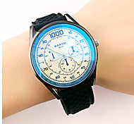 Men's six eye three pin rubber band blue reflective glass casual fashion quartz  wrist watch