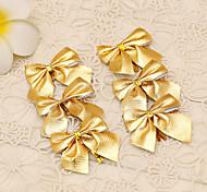 12шт веселые рождественские украшения дерево стиль золото Bowknot принадлежности цветок тростника украшения банкета выпускного вечера