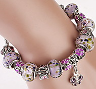 Purple Strand Bracelet with Butterfly Pendant Charm Bracelet