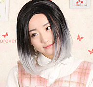 Fashion Full Head Ombre Wig Straight Short Two Tone Gradient Two Colored Wig Synthetic Wigs for Women Black to Gray