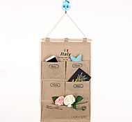 Five Pockets Behind Of The Door Jute Storage Reorganize Bag