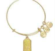 Women's Fashion Yellow Flower Pattern Silver Charm Bracelet