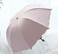 Lotus Leaf Edge Stripe Arched Folding Seventy Percent Off Full Light Shielding And Anti Ultraviolet Umbrella