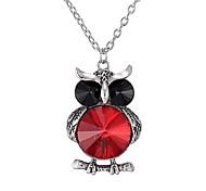 Fashion Retro Alloy Diamond Owl Pendant Necklace