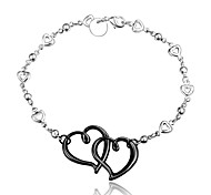 2016 New Double Heart Noble Silver Black Party Luxury Specially Bracelets For Women