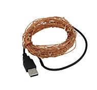 USB 5m impermeable y flexible verde 3w 50-0603 SMD luz LED de cadena - plata (CC 12V)