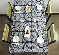 Chinese Style Blue White Porcelain Printing Cotton Tablecloths Side Table Cover Background Cloth (140 * 140cm)