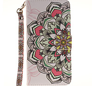 Painted Half Flower Pattern Card Can Lanyard PU Phone Case For Samsung Galaxy Note 4 5 7