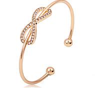 Gold/Silver Crystal Bowknot Cuff Bangle Bracelet