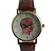 Masculino Relógio de Moda Quartzo Impermeável PU Banda Casual Padrão Mapa do Mundo Marrom Marron