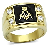 Men's Stainless Steel CZ Masonic Ring AAA Quality Cubic Zirconia Ionic Gold Plated Environmental Material Lead FreeImitation Diamond Birthstone