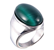 Ring Gemstone Stainless Steel Ring Vintage Slver Statement Rings 3 Colors Jewelry Gift Opal 1 pc