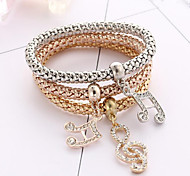 Bracelet/Wrap Bracelets Alloy / Rhinestone Round Fashionable Daily / Casual Jewelry Gift Gold / Rose / Silver,1set