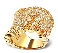 New Arrivals Women Deluxe Wedding Rings Cubic Zircon Lead Free 18K Gold Plated Low Cadmium Bridal Brass Accessories