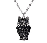 Retro All-Match Drop Diamond Pendant Necklace Owl