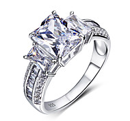 925 Sterling Silver Ring Luxury large main Stone Fashion Zirconia Simple Wedding Engagement Rings For Women Jewelry