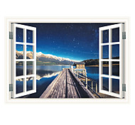 3D Exquisite Seaport Starry Sky Fashion 3D Wall Stickers False Window Design Living Room Wall Decals Home And Garden