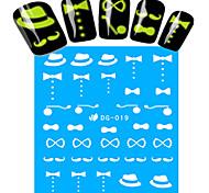 1pcs Nail Art Water Transfer Noctilucent Sticker Hat Beard Bow-knot Decoration Nail Beauty DG-019