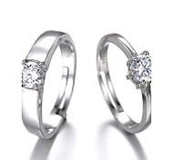 Simulation diamond couple wedding ring