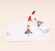 1pc White Christmas Towel Embroidery Xmas Tree Design Bathroom Shower Party Gift