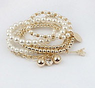 White Pearl Layered Strand Bracelet for Men/Women