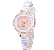 REBIRTH Women's Simple Fashion Imitation Diamond Slim PU Leather Strap Quartz Wrist Watch