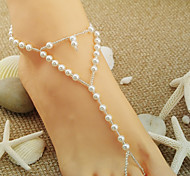 White Pearl Style Leg Chain for Lady Body Jewelry Summer Beach