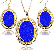 2016 Fashion Jewelry Set Women Golden Frame Ellipse Fluorescent Shinny Vintage Jewlery Set
