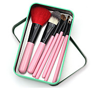 7 Pcs Wood Handle Mink Hair Makeup Brushes Sets With Can