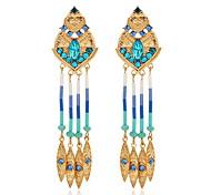 Brincos Compridos Imitação de Diamante Moda Jóias de Luxo Europeu Imitações de Diamante Liga Caído Jóias Vermelho Azul Jóias ParaDiário